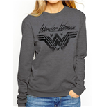 Wonder Woman Movie - Ink Effect - Women Fitted Crewneck Sweatshirt Grey