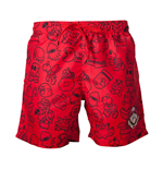 NINTENDO Super Mario Bros. Men's Mario Face & All-over Characters Print Swimming Shorts, Small, Red