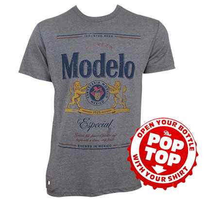 MODELO ESPECIAL Grey Pop Top Bottle Opener Tee Shirt