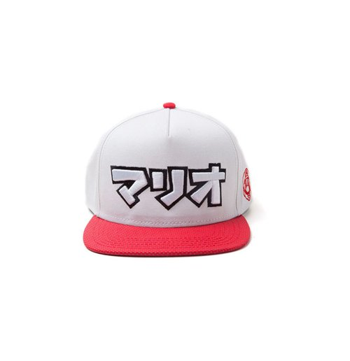 NINTENDO Super Mario Bros. Japanese Mario Logo Snapback Baseball Cap, One Size, Grey/Red