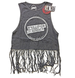 5 Seconds of Summer Ladies Tee Vest: Derping Stamp Vintage with Tassels