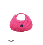 Large fluffy pink bag with skull