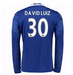 2016-17 Chelsea Home Long Sleeve Shirt (David Luiz 30)