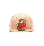 NINTENDO Super Mario Bros. Running and Jumping Mario Metal Pixel Logo Cork Snapback Baseball Cap, One Size, Multi-colour