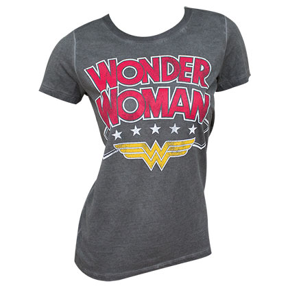 WONDER WOMAN Oil Wash Grey Tee Shirt