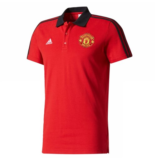 2017-2018 Man Utd Adidas 3S Polo Shirt (Red)