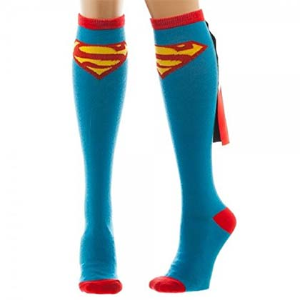 SUPERMAN Women's Blue Knee High Shiny Cape Socks