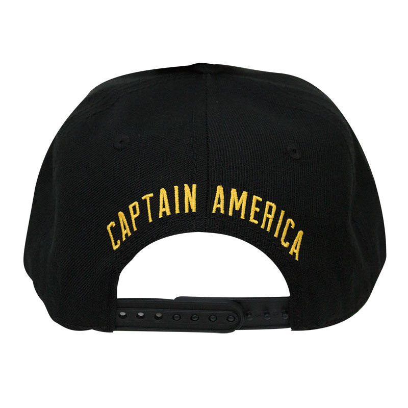 CAPTAIN AMERICA Black Striped Brim Snapback Hat