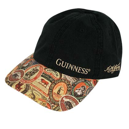 GUINNESS Extra Washed Vintage Label Black Hat