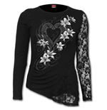 Pure Of Heart - One Lace Sleeve Gathered Top