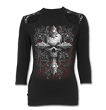 Cross Of Darkness - Lace Shoulder 3/4 Sleeve Top