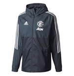 2017-2018 Man Utd Adidas Training Rain Jacket (Night Grey)