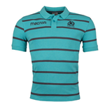 2017-2018 Scotland Macron Rugby Travel Stripe Polo Shirt (Jade)
