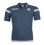 2017-2018 Scotland Macron Rugby Official Poly Cotton Polo Shirt (Navy)