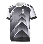 2017-2018 Juventus Adidas Pre-Match Training Shirt (Black-White) - Kids