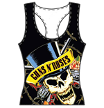 Guns N' Roses Ladies Tee Vest: Skull & Guns
