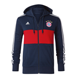 2017-2018 Bayern Munich Adidas 3S Hooded Zip (Navy)