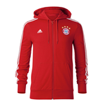 2017-2018 Bayern Munich Adidas 3S Hooded Zip (Red)