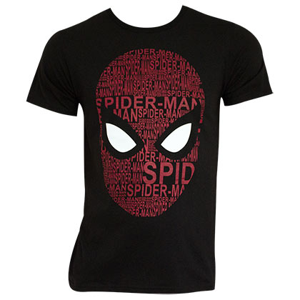 SPIDERMAN Homecoming Black Word Cloud Tee Shirt