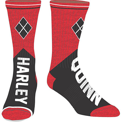 HARLEY QUINN Men's Black and Red Crew Socks