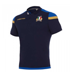 2017-2018 Italy Macron Rugby Official Cotton Polo Shirt (Navy)