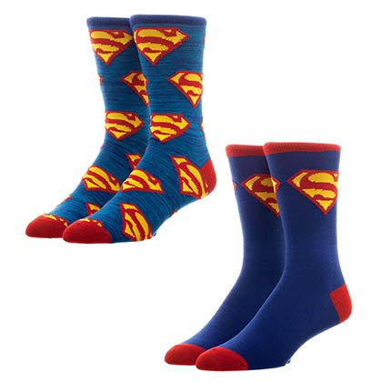 SUPERMAN Men's Crew Socks 2 Pack