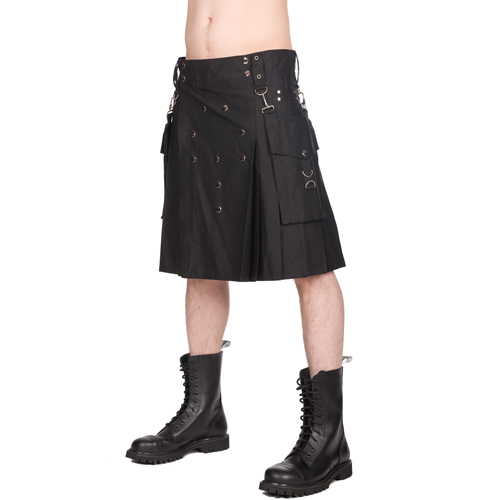 Black Pistol Button Kilt Denim