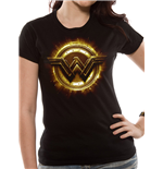 Justice League Movie - Wonder Woman Symbol - Women Fitted T-shirt Black