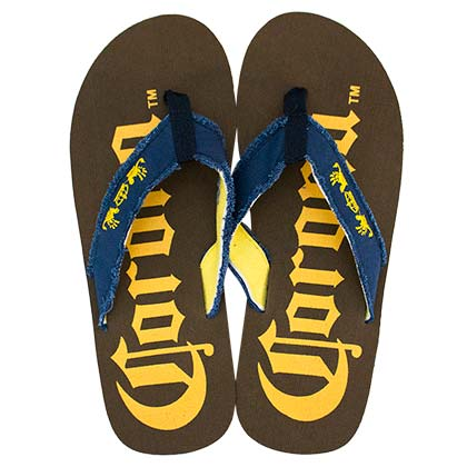 CORONA EXTRA Men's Big Logo Brown Flip Flops
