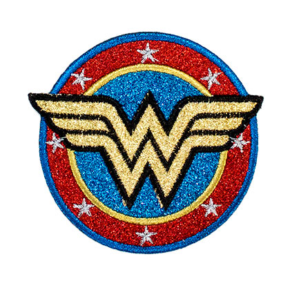 WONDER WOMAN Gold Logo Glitter Patch