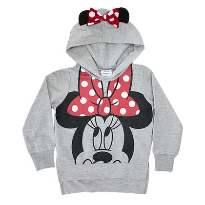 Minnie Mouse Grey Girl's Costume Hair Bow Hoodie