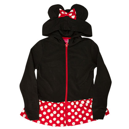 Minnie Mouse Black Girl's Costume Hoodie