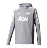 2017-2018 Man Utd Adidas Warm Up Top (Grey)
