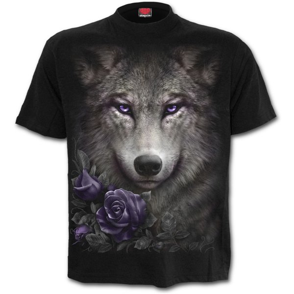 Wolf Roses - Front Print T-Shirt Black