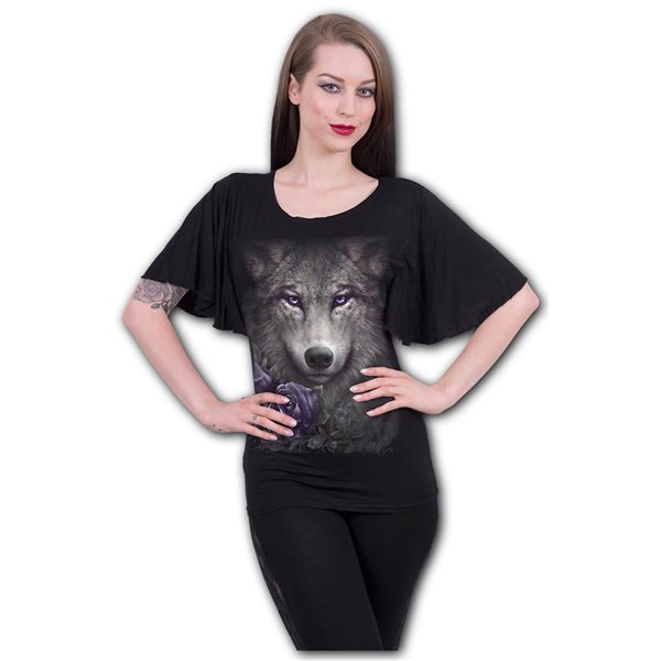 Wolf Roses - Boat Neck Bat Sleeve Top Black