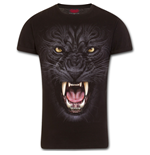 Tribal Panther - T-Shirt Modern Cut Turnup Sleeve Black