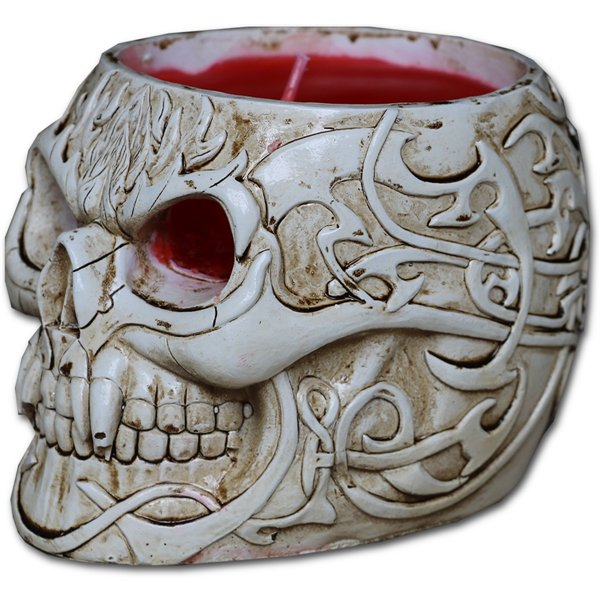 Goth Skull - Resin Candle Holder with Wax Candle