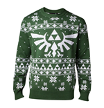 NINTENDO Legend of Zelda Men's Knitted Royal Crest Christmas Sweater, Large, Green
