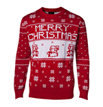 NINTENDO Super Mario Bros. Men's Knitted Pixel Mario Merry Christmas Sweater, Large, Red