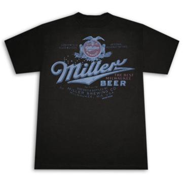 Miller beer vintage post prohibition retro men 39 s black t for Vintage miller lite shirt