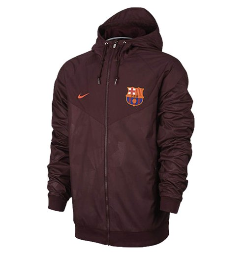 2017-2018 Barcelona Nike Authentic Windrunner Jacket (Maroon)