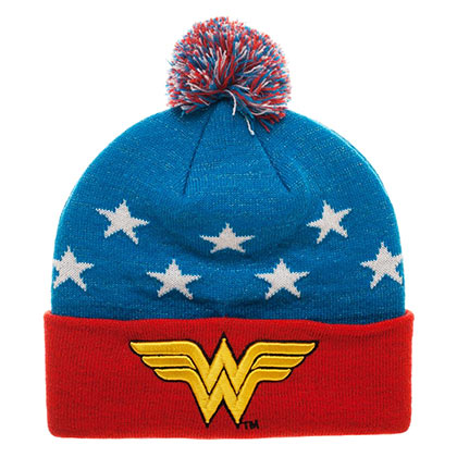WONDER WOMAN Embroidered Winter Pom Beanie