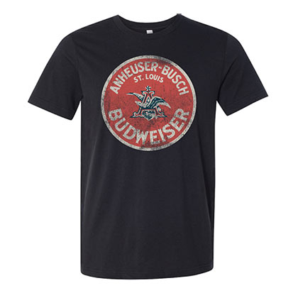 BUDWEISER Vintage Circle Logo Deep Heather Tee Shirt