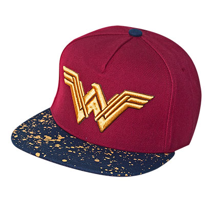 WONDER WOMAN Metallic Logo Burgundy Snapback Hat