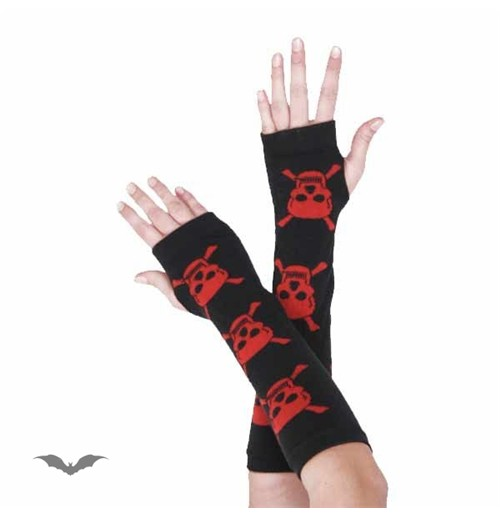Arm warmers. Black with 3 red skulls