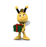 Maya the Bee Figure Willy with Present 6 cm