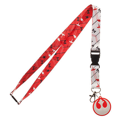 STAR WARS Episode 8 White and Red Rebel Lanyard