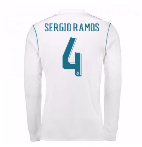 2017-18 Real Madrid Long Sleeve Home Shirt (Sergio Ramos 4)