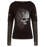 Death Roar - Mesh Sleeve Zip Shoulder Long Sleeve Ladies