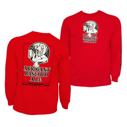 ARROGANT BASTARD Long Sleeve Classic Logo Red Shirt
